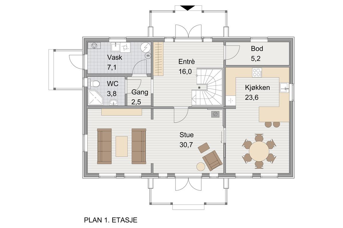 Blink Hus Aurdal plan 1. etg.