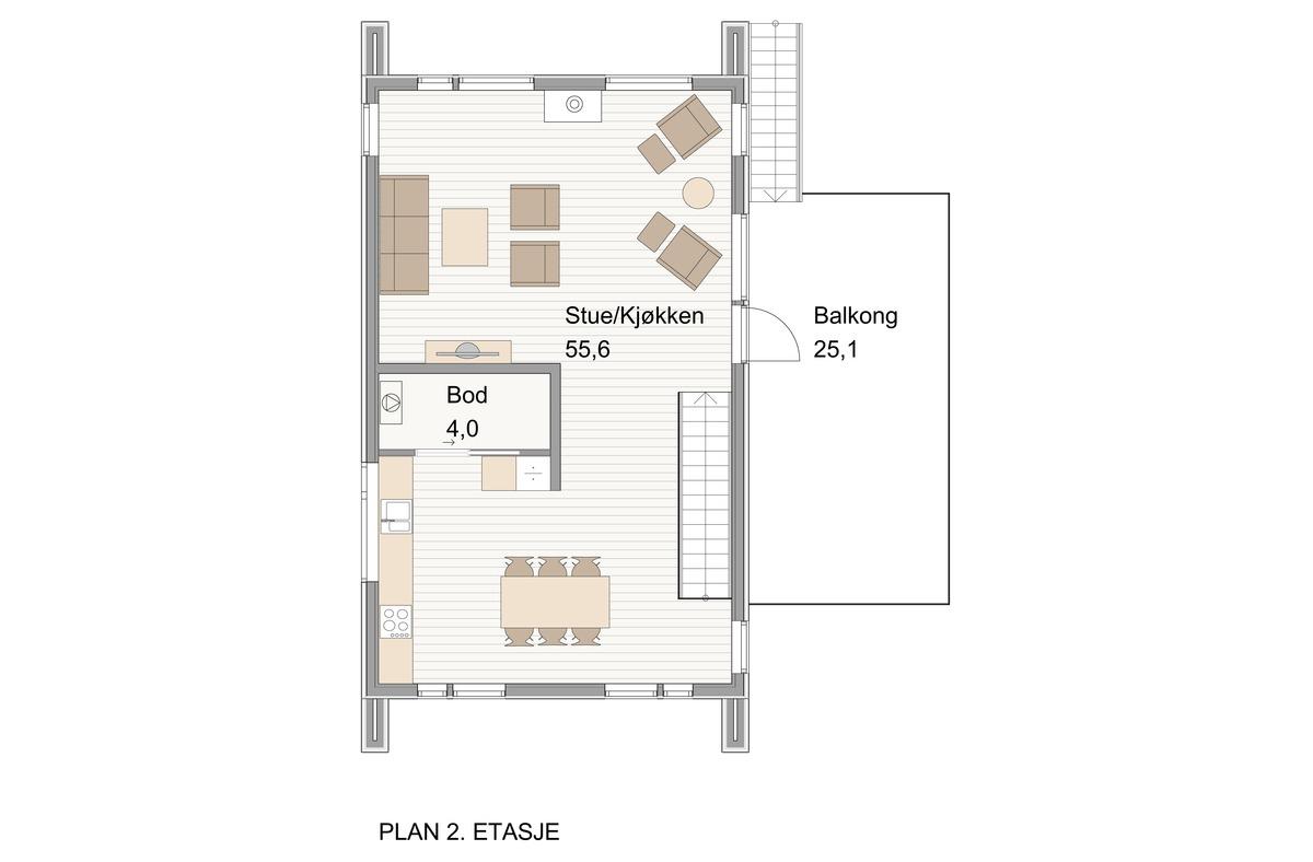 Blink hus Farsund plan 2. etg.