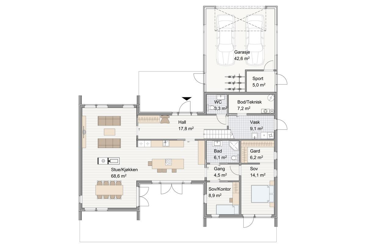 Blink hus Kongsberg plan 1. etg.